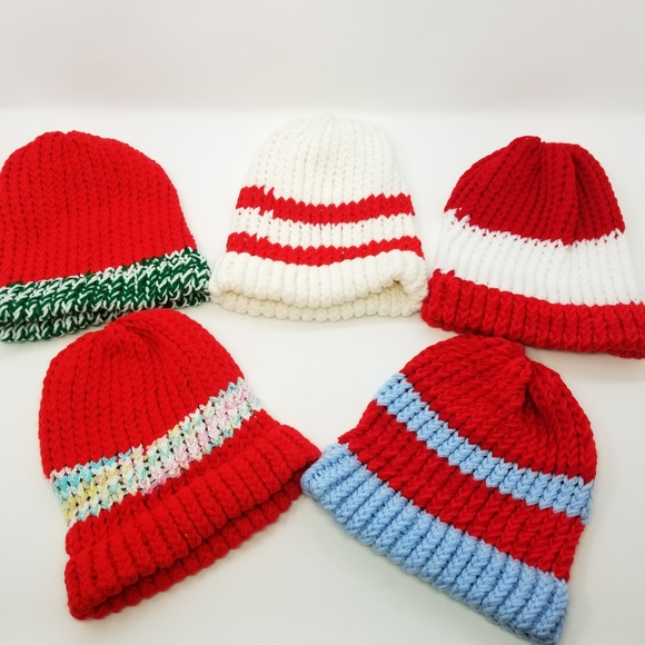 Five Handmade Christmas Colors Beanies Lot! Gift